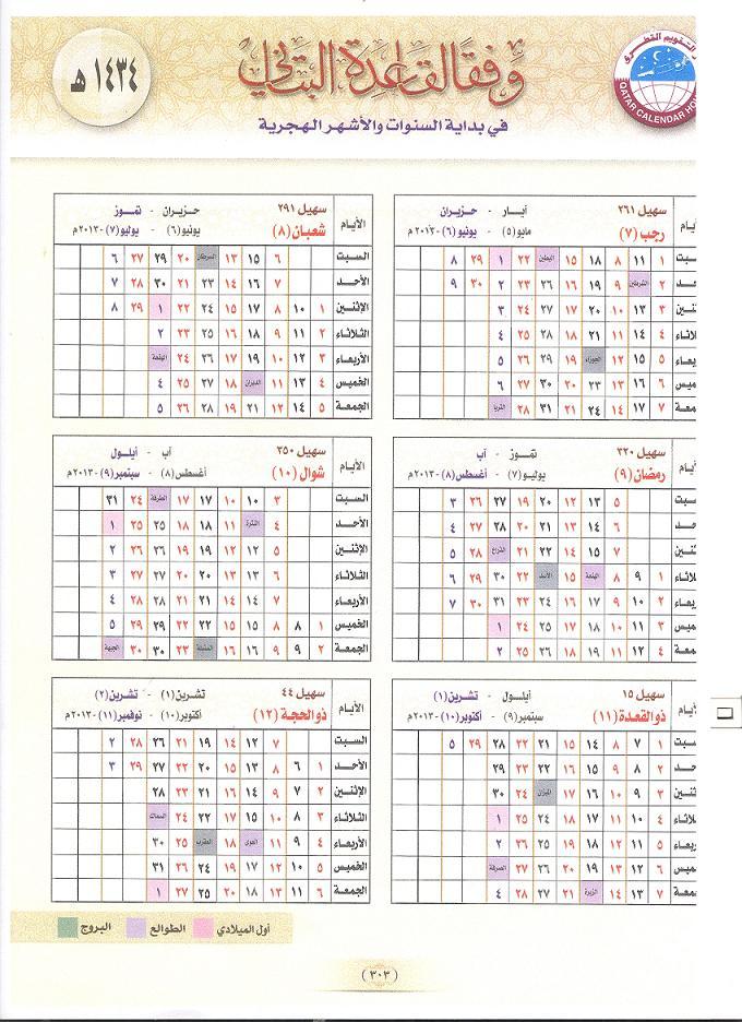 تقويم القرى 1434 al-Qura calendar 1434