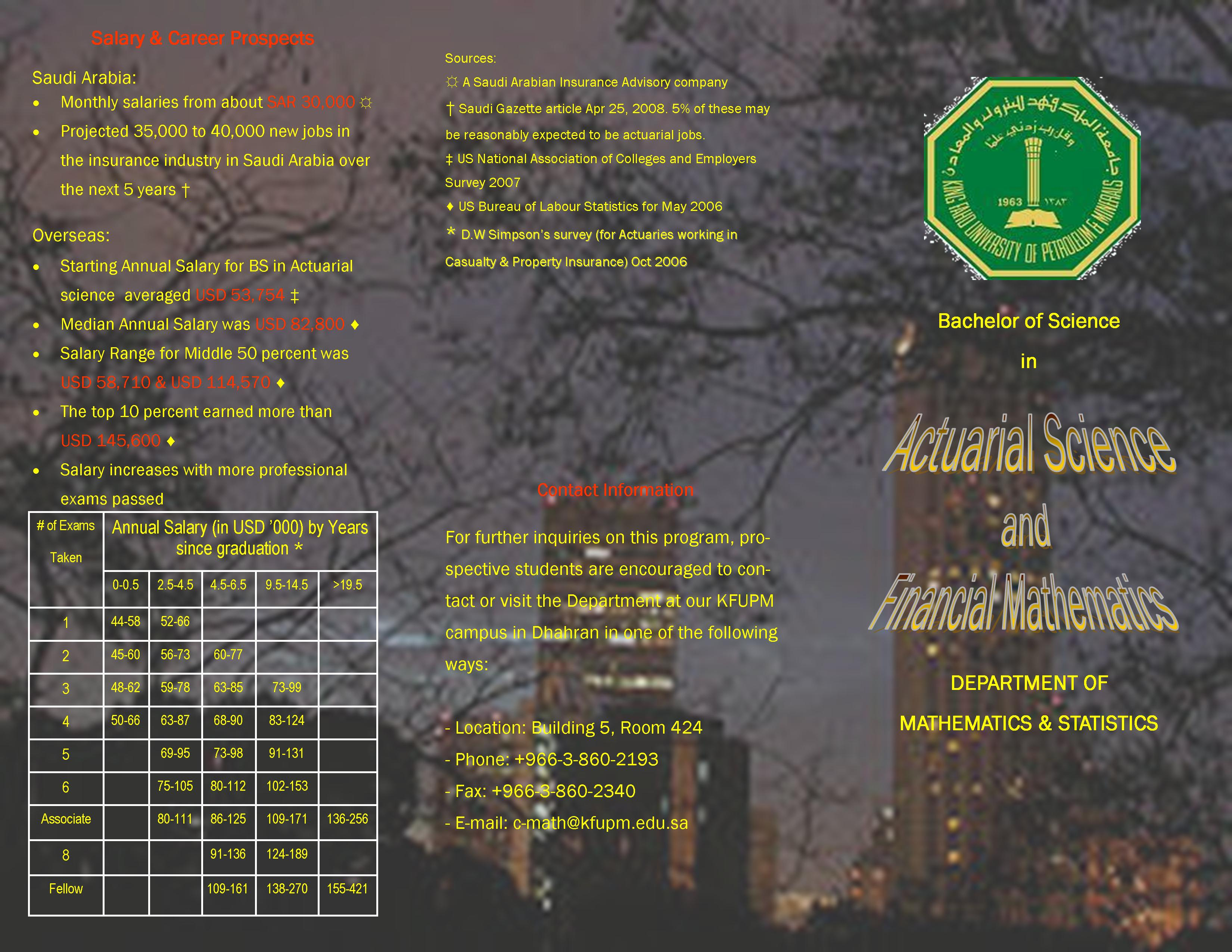 Actuarial Science - front of brochure