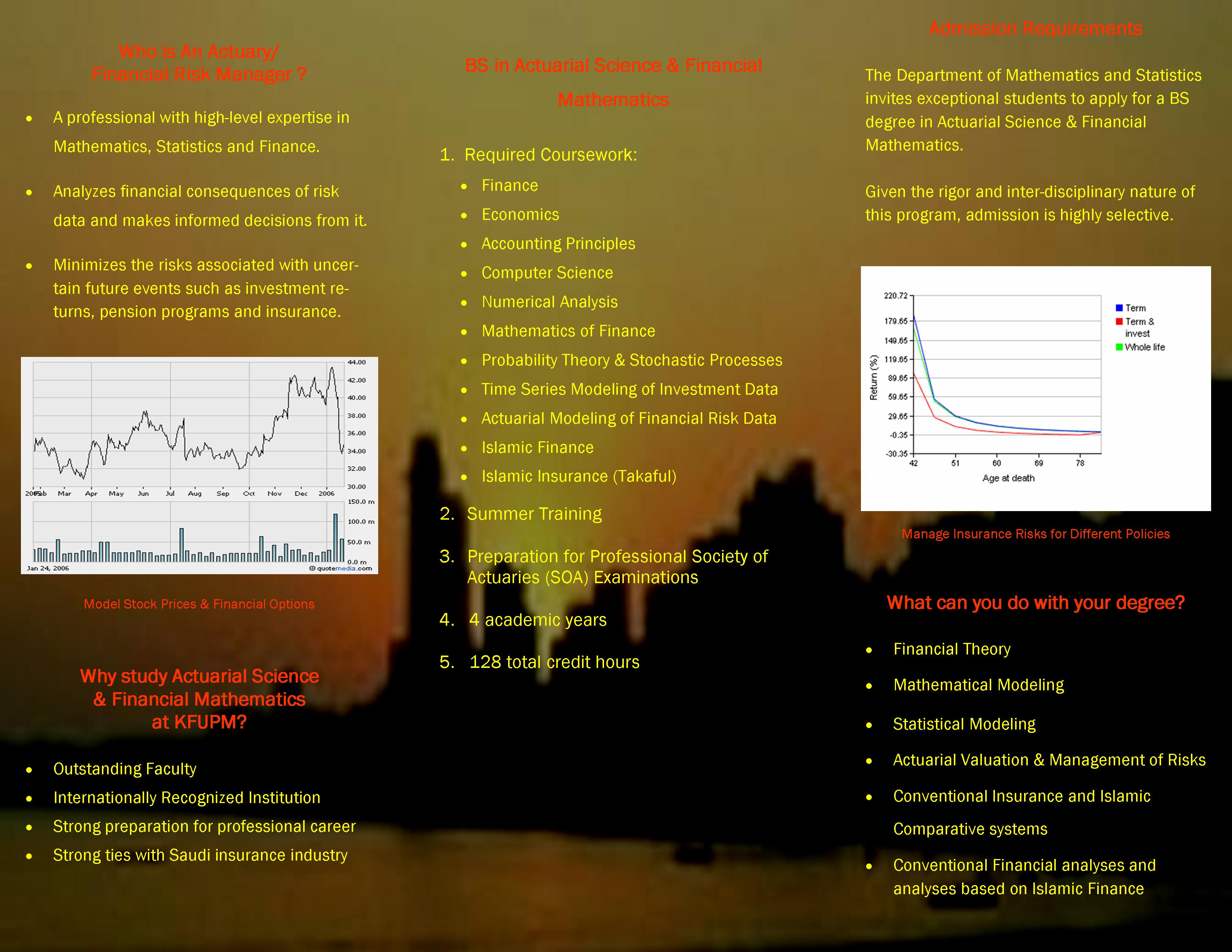 Actuarial Science - back of brochure