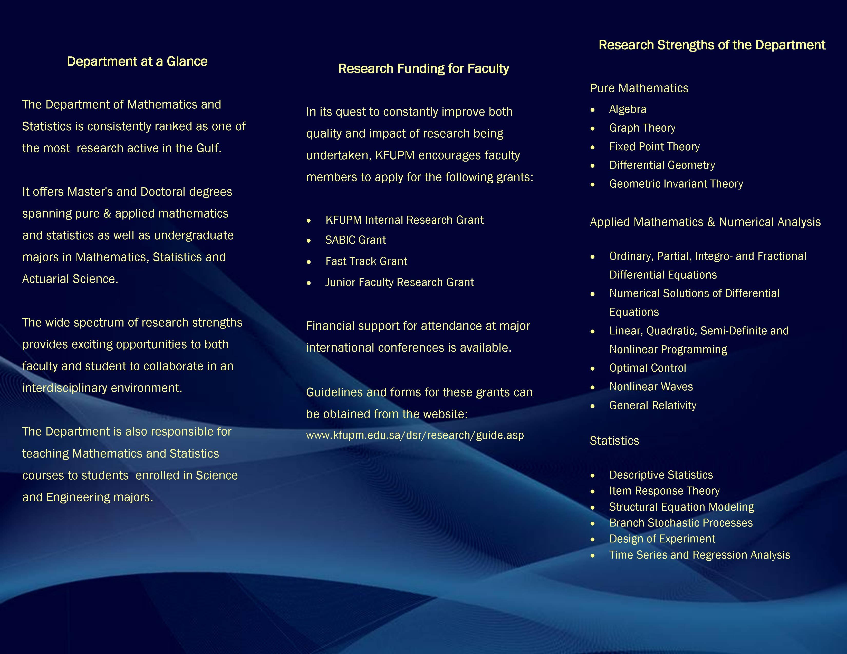 Department - back of brochure
