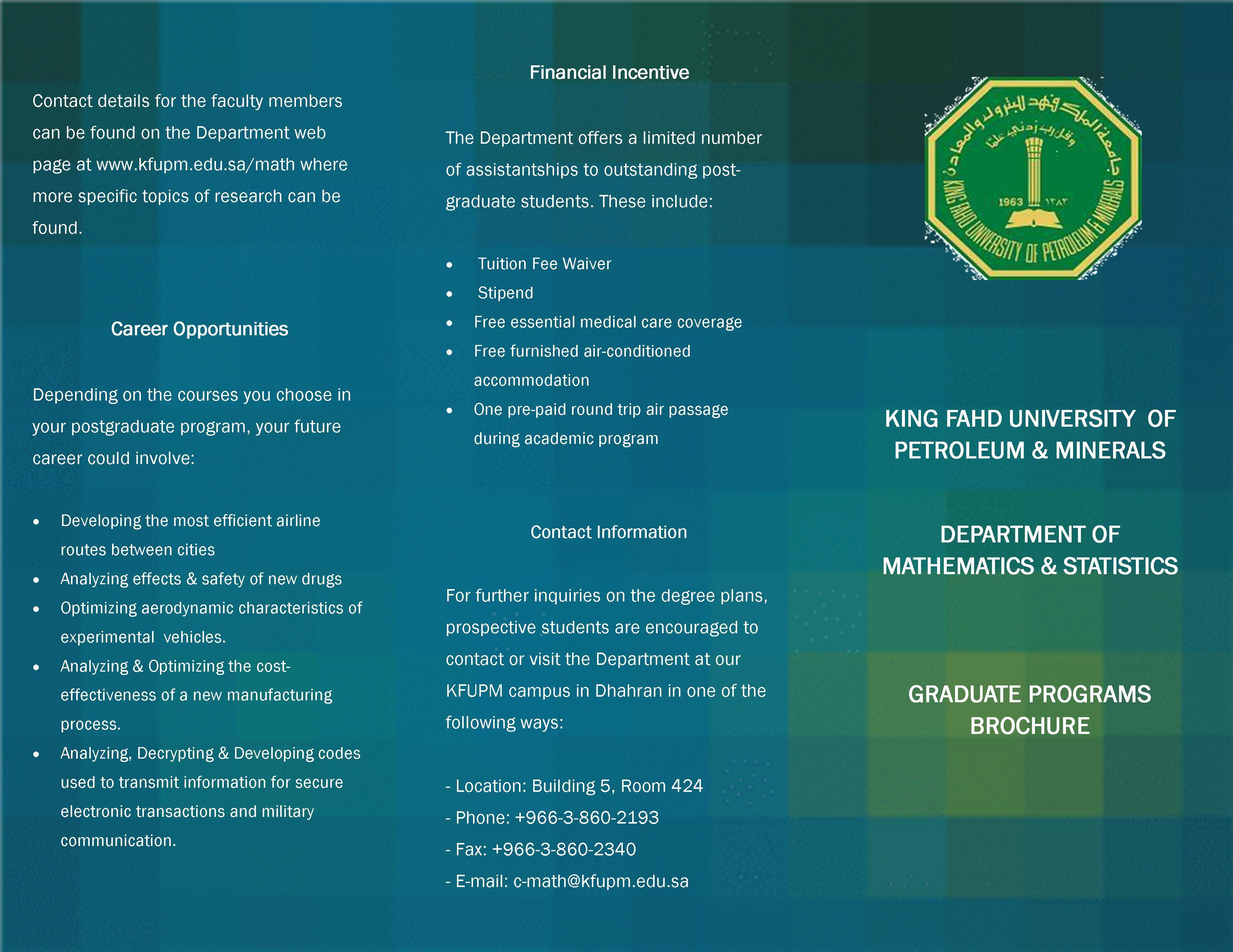 Graduate Program - front of brochure